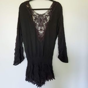 summer black romper with lace light-weight